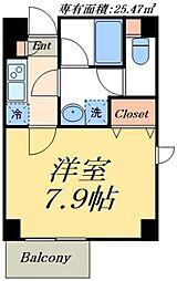 デュオメゾン東京スカイツリー 3階1Kの間取り