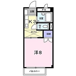 JR山陰本線 幡生駅 徒歩19分の賃貸アパート 2階1Kの間取り