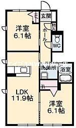 クラシオン金川 II棟[1階]の間取り