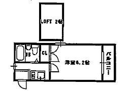 ロフティー高槻[2階]の間取り