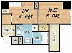 プレサンスNEO心斎橋[6階]の間取り
