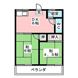 神山ハイツ[2階]の間取り