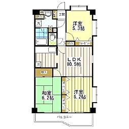 東京都葛飾区西亀有3丁目の賃貸マンションの間取り