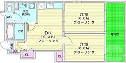 クリプトメリア 1階2DKの間取り