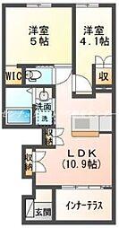 JR山陽本線 岡山駅 バス30分 池の内東下車 徒歩8分の賃貸アパート 1階2LDKの間取り