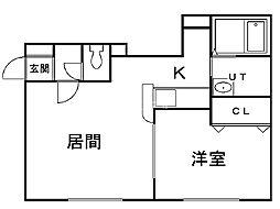 サイレントマンションII 2階1LDKの間取り