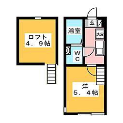 アザーレ・クオン多摩美 1階1Kの間取り
