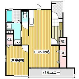 愛知県名古屋市中川区吉津4丁目の賃貸アパートの間取り