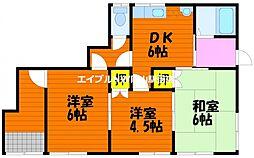 岡山県岡山市南区山田丁目なしの賃貸アパートの間取り
