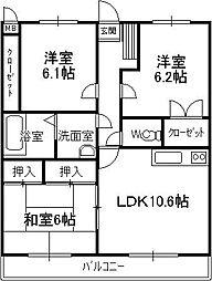 福岡県春日市上白水3丁目の賃貸マンションの間取り