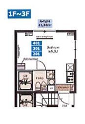 都営浅草線 中延駅 徒歩6分の賃貸マンション 1階1Kの間取り