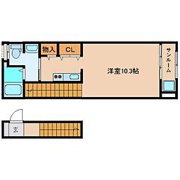 静岡県静岡市清水区船越の賃貸アパートの間取り