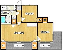 福岡県福岡市中央区笹丘2丁目の賃貸マンションの間取り