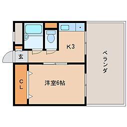 JR関西本線 三郷駅 徒歩2分の賃貸マンション 5階1Kの間取り