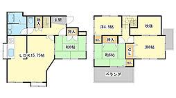 [一戸建] 兵庫県姫路市網干区津市場 の賃貸【/】の間取り