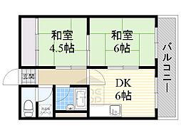 マンション笹倉 4階2DKの間取り