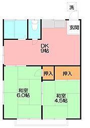 コーポ並木[2階号室]の間取り