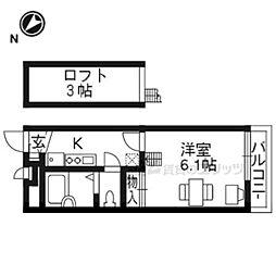 JR東海道・山陽本線 南草津駅 徒歩24分の賃貸マンション 2階1Kの間取り