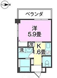 バス 印刷団地前下車 徒歩4分の賃貸アパート 2階1Kの間取り