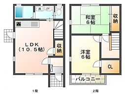 [テラスハウス] 東京都国立市北2丁目 の賃貸【/】の間取り