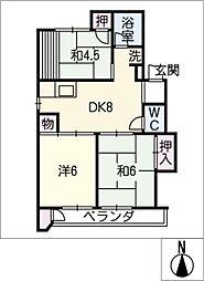 ハイツ高御堂F棟[1階]の間取り