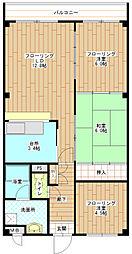 大阪府堺市西区鳳北町6丁の賃貸マンションの間取り