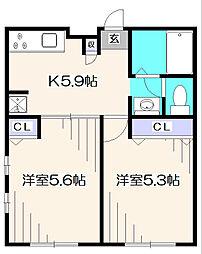 東京都東久留米市南町1丁目の賃貸アパートの間取り