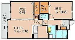 ボヌール綾の杜[9階]の間取り