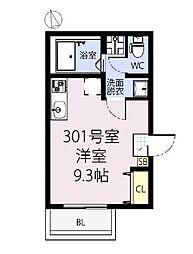 JR青梅線 立川駅 徒歩24分の賃貸アパート 3階ワンルームの間取り