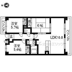 近鉄京都線 大久保駅 徒歩23分の賃貸マンション 3階3LDKの間取り