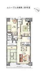 3LDK、専有面積75.84平米、バルコニー面積8.16平米、フルリフォーム済み