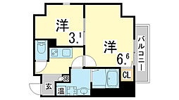 JR東海道・山陽本線 鷹取駅 徒歩7分の賃貸マンション 6階2Kの間取り