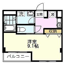 JR南武線 矢川駅 徒歩5分の賃貸マンション 1階1Kの間取り