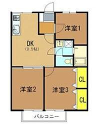 大阪府堺市中区深阪1丁の賃貸アパートの間取り