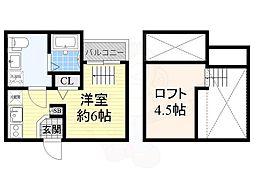 JR阪和線 鳳駅 徒歩4分の賃貸アパート 2階ワンルームの間取り
