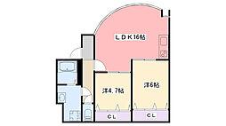 コロナール甲子園[B101号室]の間取り