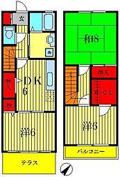[テラスハウス] 千葉県松戸市八ヶ崎3丁目 の賃貸【/】の間取り