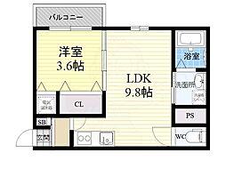Maison de Coton 2階1LDKの間取り
