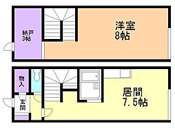 サンシャイン亀田港 1階1LDKの間取り