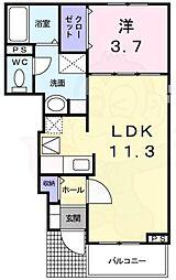 近鉄南大阪線 河内天美駅 徒歩24分の賃貸アパート 1階1LDKの間取り