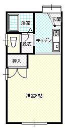 JR山形新幹線 山形駅 バス20分 山形温泉口下車 徒歩6分の賃貸アパート 1階ワンルームの間取り