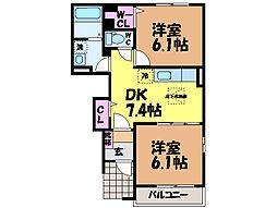 愛媛県松山市南土居町の賃貸アパートの間取り