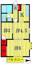 千葉県我孫子市つくし野1丁目の賃貸アパートの間取り
