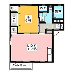 ディアス萩B[2階]の間取り