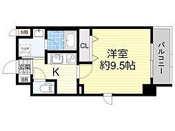 HK Residence 4階1Kの間取り