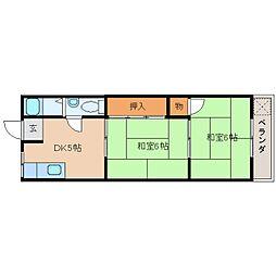 近鉄生駒線 平群駅 徒歩1分の賃貸マンション 2階2DKの間取り