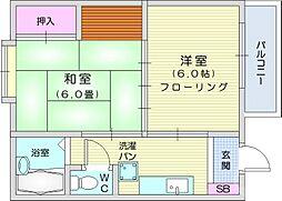 メゾン石川 2階2Kの間取り