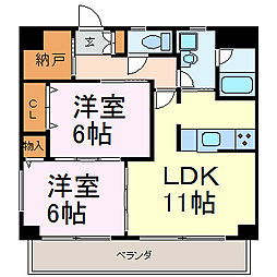 愛知県名古屋市中川区荒子2丁目の賃貸マンションの間取り