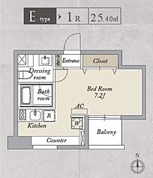 JR総武線 両国駅 徒歩13分の賃貸マンション 4階ワンルームの間取り