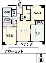 シャルマンコーポ戸崎502号[5階]の間取り